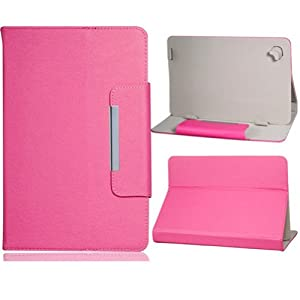 """NSSTAR Universal Textured Faux Leather Folio Stand Flip Protection Guard Case Cover with Magnetic Closure for 9"""" inch Android Tablet PC (Hot pink) by NSSTAR"""