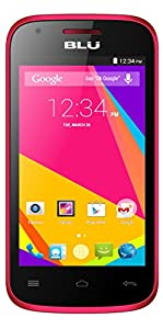 BLU Dash JR 4.0K Android 4.4 Kit Kat 2MP Main Camera VGA Front Unlocked Cell Phone - Retail Packaging - Pink