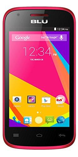 BLU Dash JR 4.0K Android 4.4 Kit Kat 2MP Main Camera VGA Front Unlocked Cell Phone - Retail Packaging - Pink