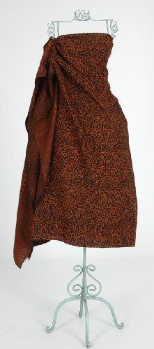 YourSarong Batik Curling leaves Sarong Brown on Black