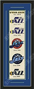 Heritage Banner Of Utah Jazz With Team Color Double Matting-Framed Awesome &... by Art and More, Davenport, IA