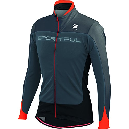 Sportful Flash Softshell Jacket, Giacca da Bici Uomo 1101275 (Grigio/Rosso/Nero, XL)