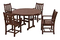 Hot Sale POLYWOOD PWS134-1-MA Traditional Garden 5-Piece Dining Set, Mahogany