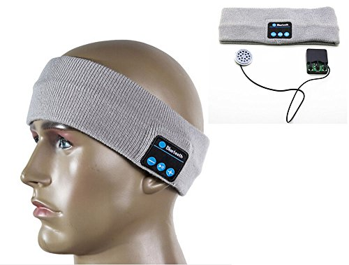 BicycleStore Wireless Bluetooth Stereo Headphone Earphone Sleep Headset Sports Headband with Mic Knit/Fleece Materail for Women Men Gift (Gray Knit)