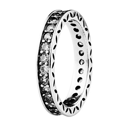 TAOTAOHAS antico sterling 925 argento europeo Anelli [ eleganza floreale, Clear ] Misura 17 best seller w cristallo Regalo di giorno della madre