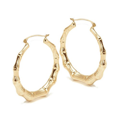 Bling Jewelry Bamboo 14K Gold-filled Large Hoop Earrings 2""