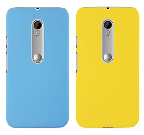 Chevron Back Cover Combo Of 2 for Moto X Play (Aqua Blue, Yellow)
