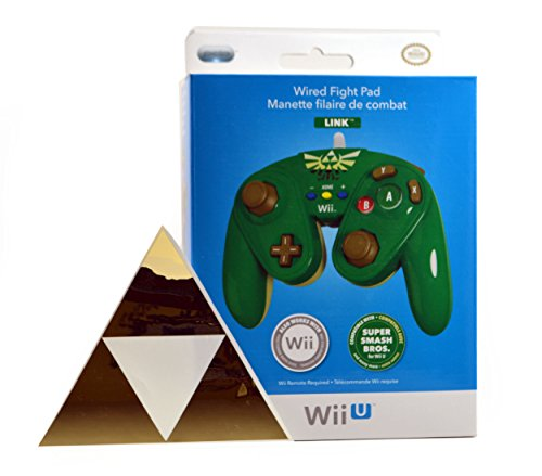 Legend of Zelda Link Wired Wii U Green Fight Pad and Triforce Decal Sticker (Zelda For Wi compare prices)