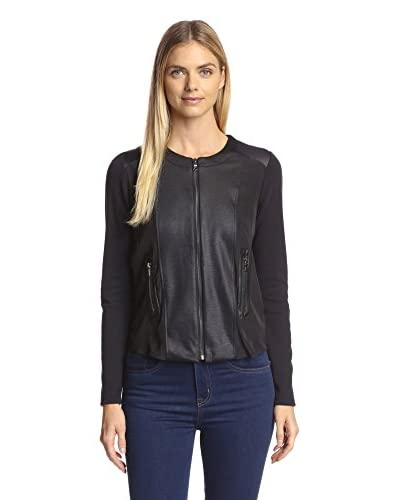 Lola & Sophie Women's Luster Ponte Jacket with Faux Leather Trim