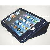 iPad mini ケース/アイパッド ミニ/スタンドB型/合皮製/牛皮模様/ダークブルー/濃青色