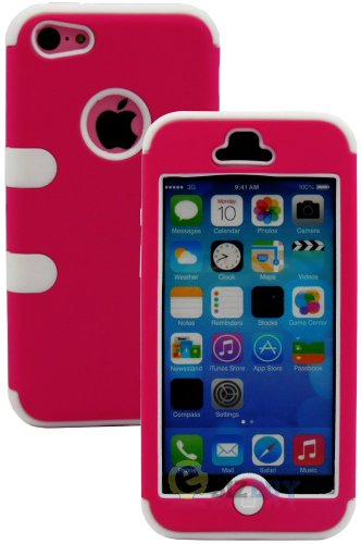 Mylife (Tm) White + Hot Pink Flat Color Style 3 Layer (Hybrid Flex Gel) Grip Case For New Apple Iphone 5C Touch Phone (External 2 Piece Full Body Defender Armor Rubberized Shell + Internal Gel Fit Silicone Flex Protector + Lifetime Waranty + Sealed Inside