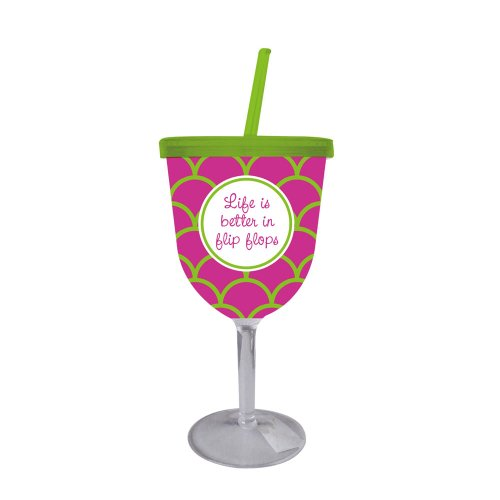 Life Is Better In Flip Flops Insulated Acrylic Wine Goblet front-800301