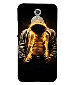 PrintVisa Cool Boy Fire 3D Hard Polycarbonate Designer Back Case Cover for Lenovo Zuk Z1
