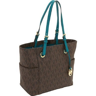 MICHAEL Michael Kors Jet Set Item EW Signature Tote BROWN/AQUA
