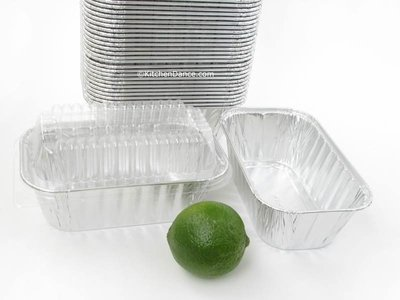 Disposable Aluminum 1 Lb. Loaf Pans with Clear Snap on Lid #5000p