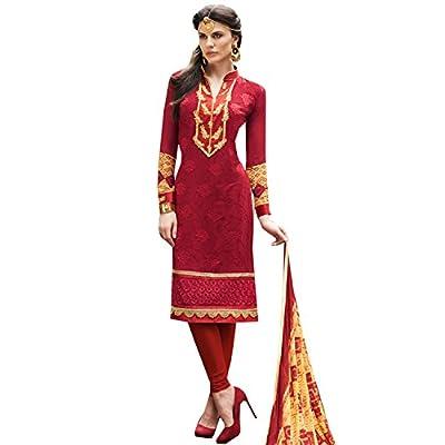 EthnicCrush Women's Georgette Semi Stitched Embroidered Salwar Kameez(ECKE3271Vogue15009,Red)