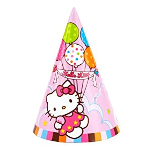 "Amscan Hello Kitty Balloon Dreams 7"" Party Cone Hats, 8-Count from Amscan"