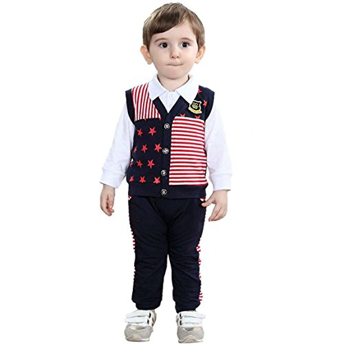 Aivtalk Baby boy 4 Piece Gentleman Cotton Clothing Outfit Set (0-6years)