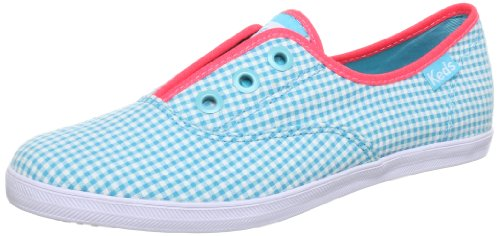 Keds Rookie Laceless Gingham Trainers Womens Blue Blau (aqua/white normal) Size: 4.5 (37.5 EU)