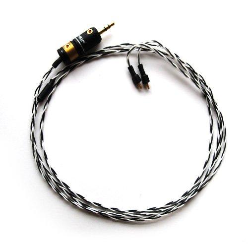 Null Audio Studio 社 「 Enyo 」 with ViaBlueプラグ Ultimate Ears 用 アップグレード Silver ケーブル[カラー2色:黒/ゼブラ]