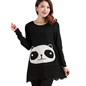 Women Girls Panda Black Hooded Christmas Cardigan Sweater