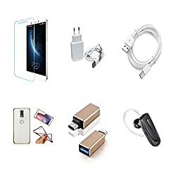 High Quality Combo of LeTV 1s Temper Glass + 1 Amp USB Charger + Type C Data Cable + Attractive Back Cover (Transparent Back with Golden Border) + OTG Adapter - Type C