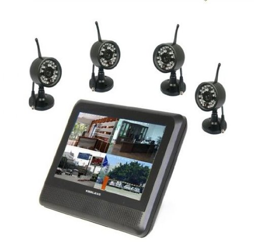 7 Inch Tft Lcd 2.4Ghz Wireless Baby Monitor With Night Vision +4Pcs Wireless Outdoor Camera Av Out