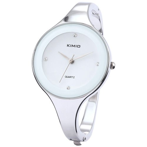 KIMIO Charm Bling Elegant Women Lady White Dial Bangle Bracelet Quartz Wrist Watch KIM019