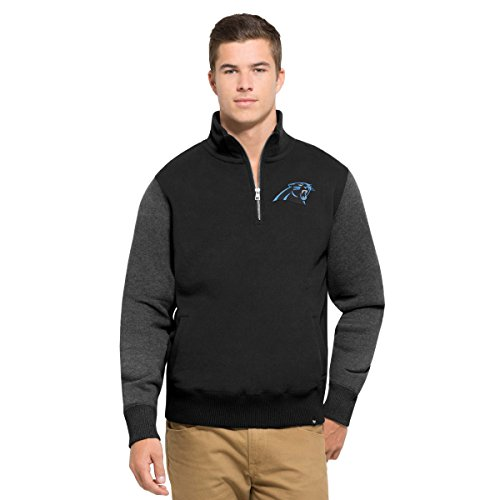 NFL Carolina Panthers Men's 47 Triple Coverage 1/4-Zip Pullover Fleece, XX-Large, Jet black