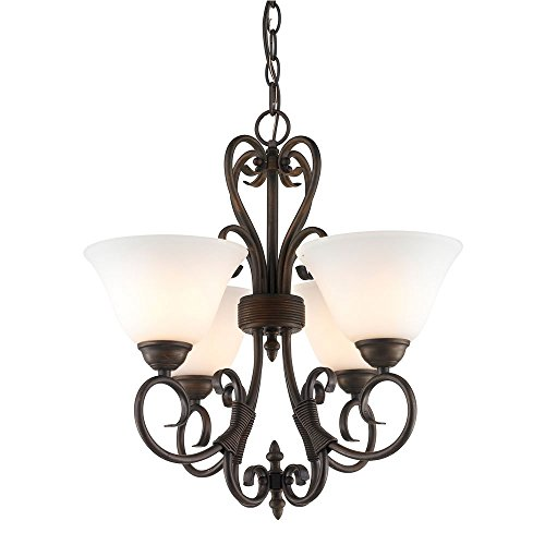 Golden Lighting 8606-Gm4 Rbz-Op Chandelier - Mini With Opal Glass Shades, Rubbed Bronze Finish