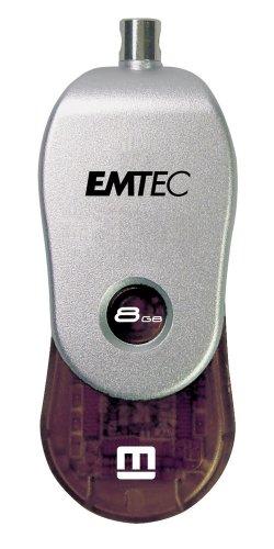 EMTEC M200 Swivel Series 8 GB USB 2.0 Flash Drive with Em-Desk (Black)