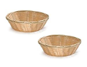 NEW, 8-Inch Round Woven Bread Roll Baskets, Food Serving Baskets, Basket, Restaurant Quality, Polypropylene Material - Set of 2