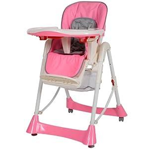 TecTake Trona para niños con bandeja y bebés rosa de altura regulable en Bebe Hogar