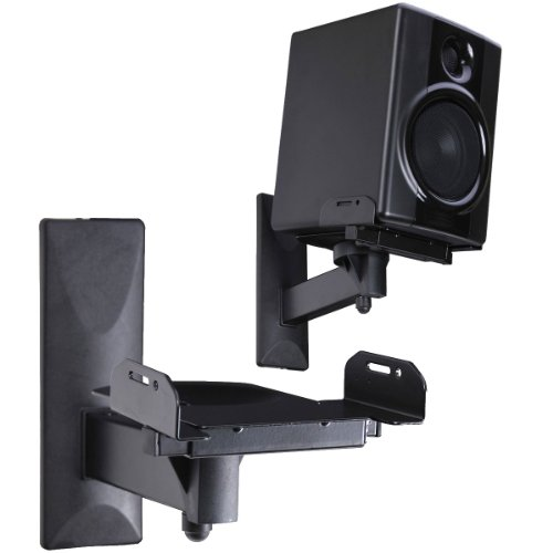Videosecu Side Clamping Bookshelf Speaker Wall Mount - Sturdy Steel Gripping Bracket (One Pair) 3Lh
