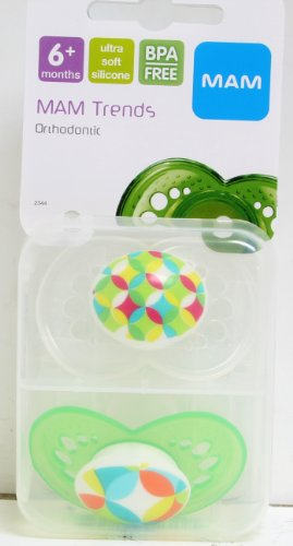 Mam 2 Pack Trends Silicone Pacifier, 6 Months (As Pictured - Green) front-847395