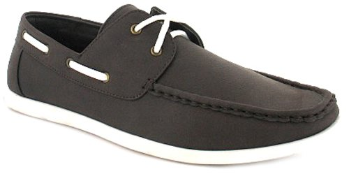 New Mens/Gents Brown Suede Effect Lace Up Boat Shoe With White Laces - Brown - UK 6-11