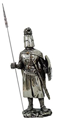 7 Inch Medieval Knight Collectible Statue Figurine Battle Crusader Pike Shield
