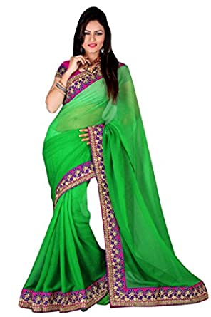 Triveni Indian Designer Party Wear Finelooking Embroidered Bordered Chiffon Saree available at Amazon for Rs.2136