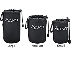 3-Pack Soft Neoprene Lens Pouch for DSLR Lenses (Small, Medium and Large) f/ Canon, Nikon, Pentax, Olympus, Sony, Panasonic, Nikkor w/ Drawstring, Water Resistant + Microfiber Cloth