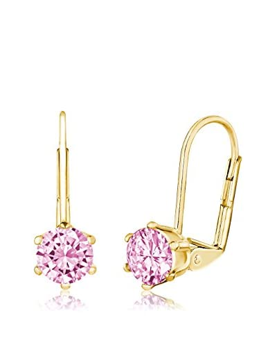 Pori Jewelers 18K Gold-Plated Pink Sapphire Round Lever Back Earrings