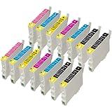 14 Cartouches d'encre compatible pour Epson Stylus Photo R200 R220 R300 R320 R340 RX500 RX600 RX620 RX640, 4x T0481, 2x T0482, 2x T0483, 2x T0484, 2x T0485, 2x T0486