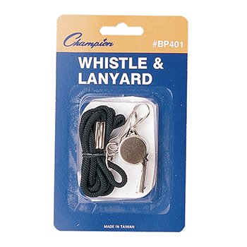 Champion Sports Metal Whistle with Lanyard, Black/Silver (Whistle With Lanyard compare prices)