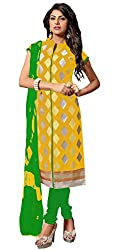 Women Icon Presents Embroidered Chanderi Dress Material (Yellow,Light Green)