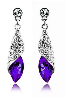 Elegant Diamond Shine Rhinestone Dark Purple Water Drop Earrings Studs E622