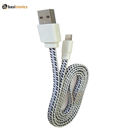 Basitronics Apple Lightning To USB Flat Fiber Charging And Data Cable For Iphone,3 Feet (0.9 Meters) White