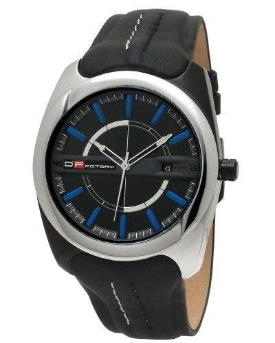 DFactory Men's DFB020YBB White Label Black Dial Black Leather Strap Watch