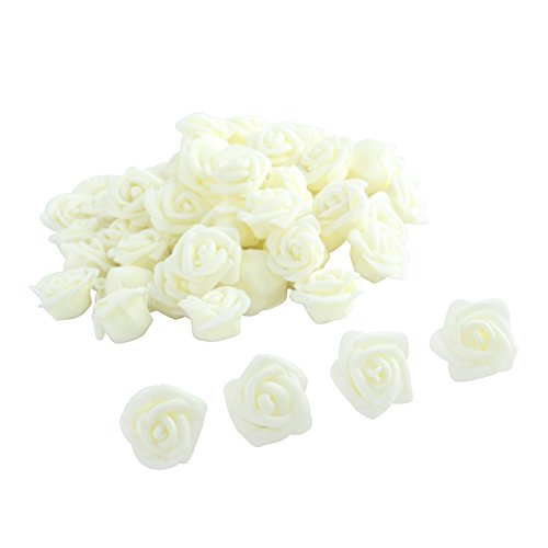 Fake Flower Heads,One Inch Roses bulk Bridal Shower Decorations Wedding Favor Centerpieces by Pparty (milk white 80pcs)