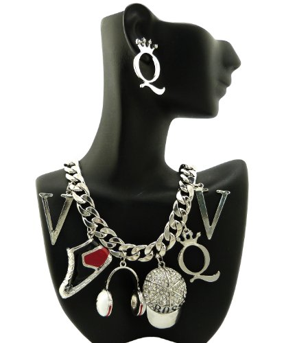 """Sneakers, Headset, Boss Cap Fashion Charm 18"""" Curb Chain Necklace And Earrings Set In Silver-Tone"""