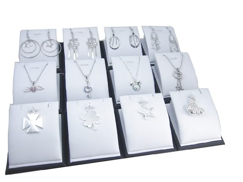 White Faux Leatherette Jewelry Display Stand for Pendants Charms Earrings, Pack of 12
