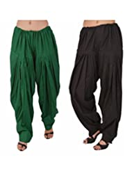 Pistaa Combo Offer Women Readymade Black And Dark Green Full Patiala Pant For Girls